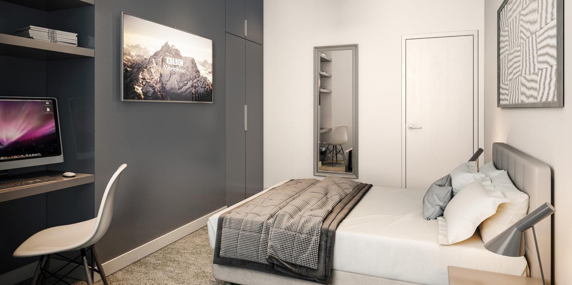 Heaton Group Apartment Interior WIth Bed and Desk