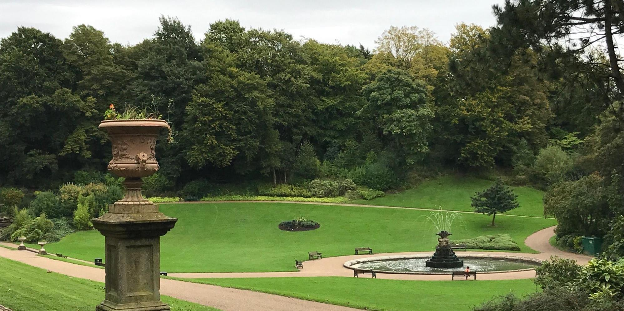 Preston Park and Water Fountain Surrounded By Trees