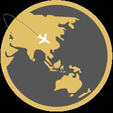 Globe with Plane black trail