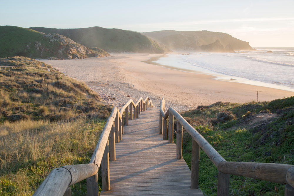 Scenic of Amado Beach and Stairs; Algarve; Portugal; Europe